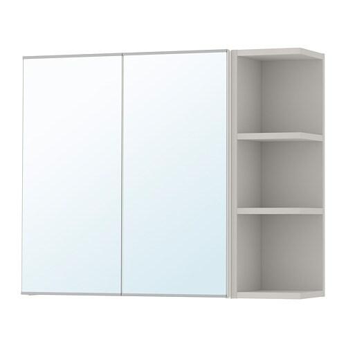 Lillangen Mobile A Specchio 2 Ante 1 Scaffale Bianco Grigio