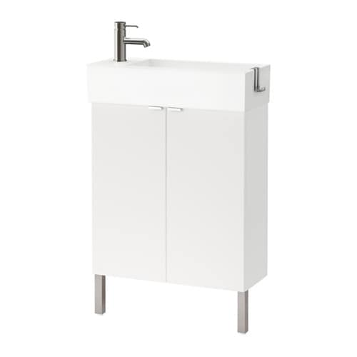 lillÅngen mobile per lavabo con 2 ante - inox, bianco, 60x27x93 cm ... - Lavabi Con Mobile