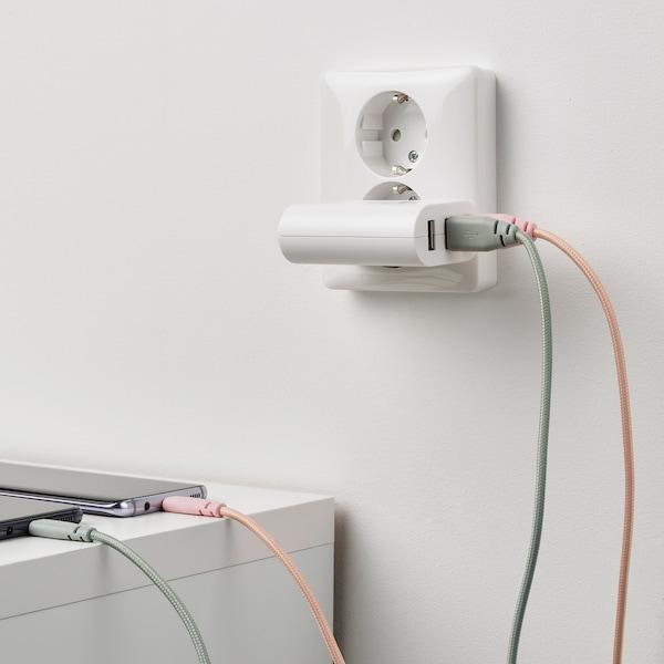 LILLHULT Cavo da USB tipo A a USB tipo C, tessuto/rosa pallido, 1.5 m