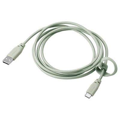 LILLHULT Cavo da USB tipo A a USB tipo C, tessuto/verde chiaro, 1.5 m