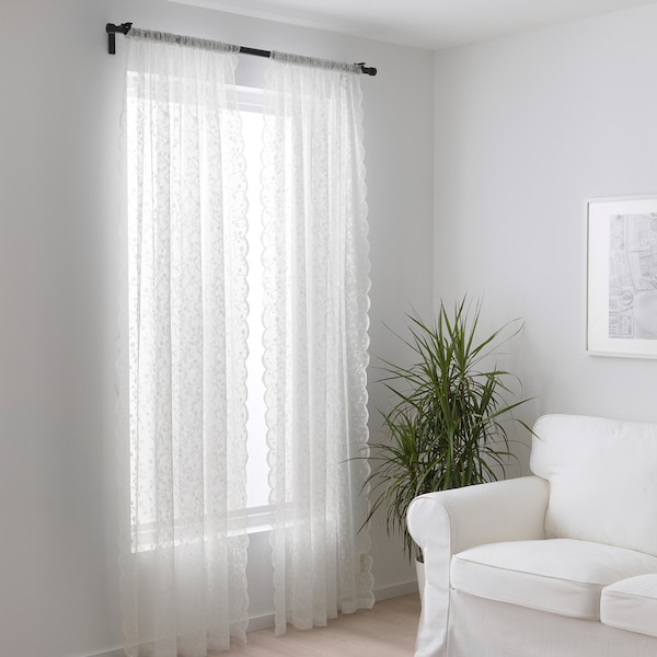 LILLYANA Tenda sottile, 2 teli, bianco/fiore, 145x300 cm