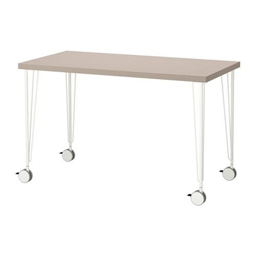 Linnmon krille tavolo geometrico beige bianco ikea - Gambe per tavoli ikea ...