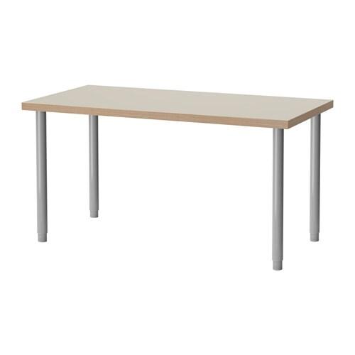 Linnmon olov tavolo beige color argento ikea - Gambe tavoli ikea ...