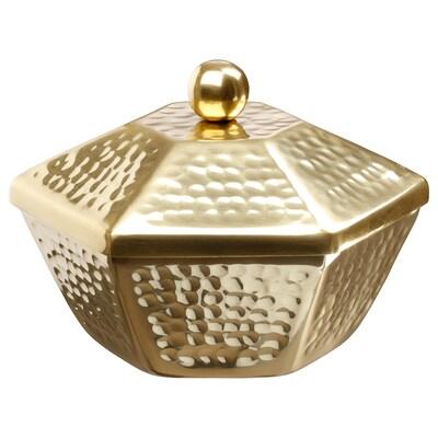 LJUVARE Ciotola con coperchio, color oro, 16 cm