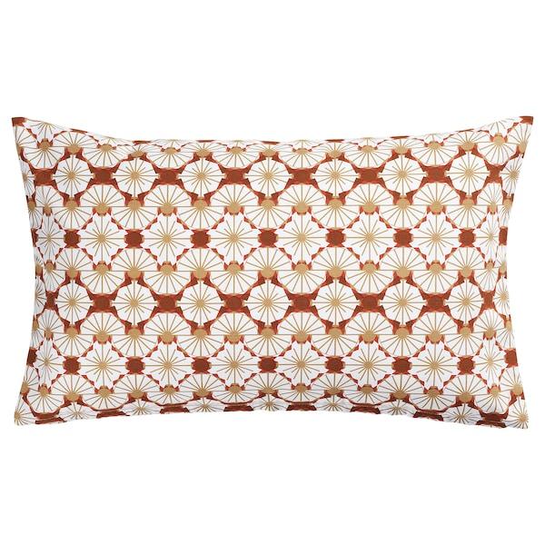 LJUVARE Fodera per cuscino, motivo floreale arancione/beige, 40x65 cm