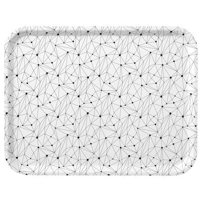 LURVIG Vassoio, bianco/nero, 43x33 cm