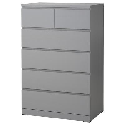 MALM Cassettiera con 6 cassetti, grigio trattato con mordente, 80x123 cm