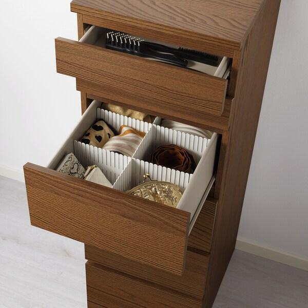 MALM Cassettiera con 6 cassetti, mordente marrone impiallacciatura di frassino/vetro a specchio, 40x123 cm