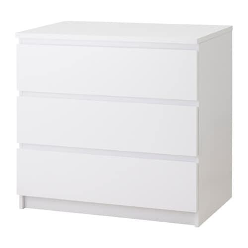 malm cassettiera con 3 cassetti bianco lucido ikea