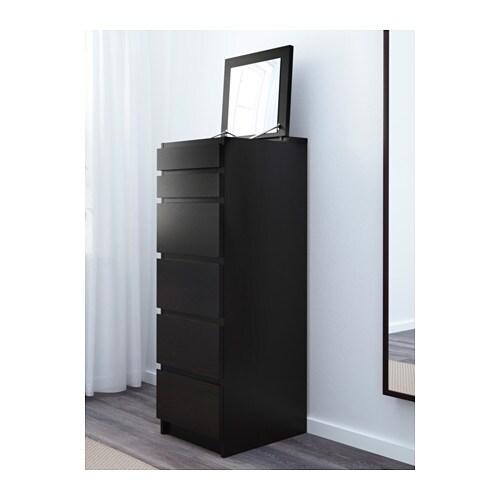 Malm Cassettiera 6 Cassetti.Malm Cassettiera Con 6 Cassetti Marrone Nero Specchio Ikea