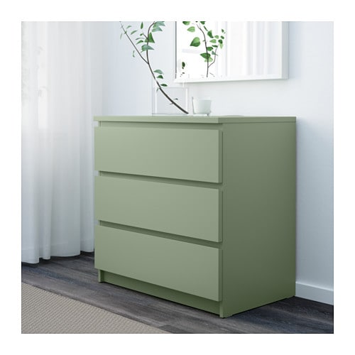 malm cassettiera con 3 cassetti - verde chiaro - ikea - Cassettiera Malm Milano