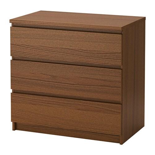 Malm cassettiera con 3 cassetti mordente marrone impiallacciatura di frassino ikea - Cassettiera malm ikea 3 cassetti ...