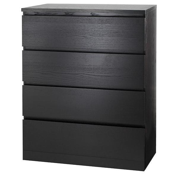 Cassettiera Ikea Malm 4 Cassetti.Malm Cassettiera Con 4 Cassetti Marrone Nero 80x100 Cm Ikea