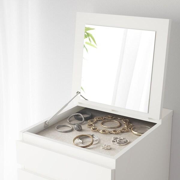 Cassettiera Con Specchio Ikea.Malm Cassettiera Con 6 Cassetti Bianco Vetro A Specchio 40x123