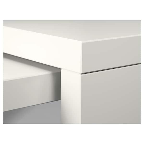 MALM Scrivania con piano estraibile, bianco, 151x65 cm