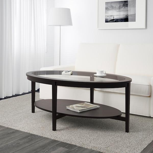 MALMSTA Tavolino, marrone-nero, 130x80 cm