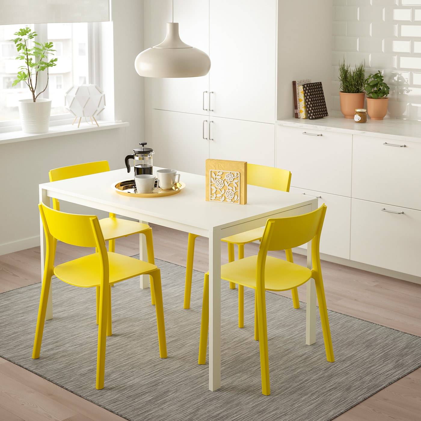 MELLTORP JANINGE Tavolo e 4 sedie bianco, giallo 125 cm