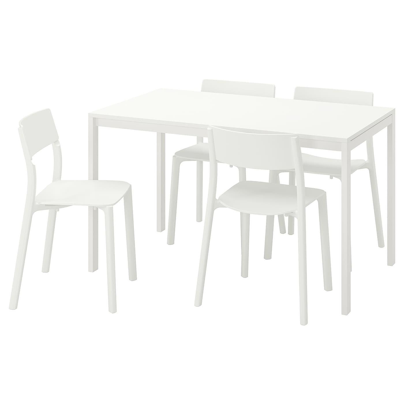 MELLTORP JANINGE Tavolo e 4 sedie bianco, bianco 125 cm