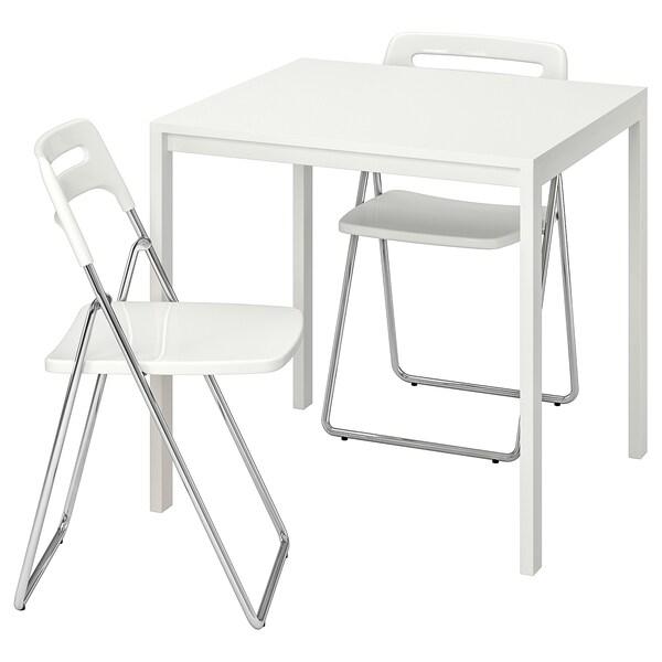 Ikea Sedie Pieghevoli Nisse.Melltorp Nisse Tavolo E 2 Sedie Pieghevoli Bianco Bianco Ikea