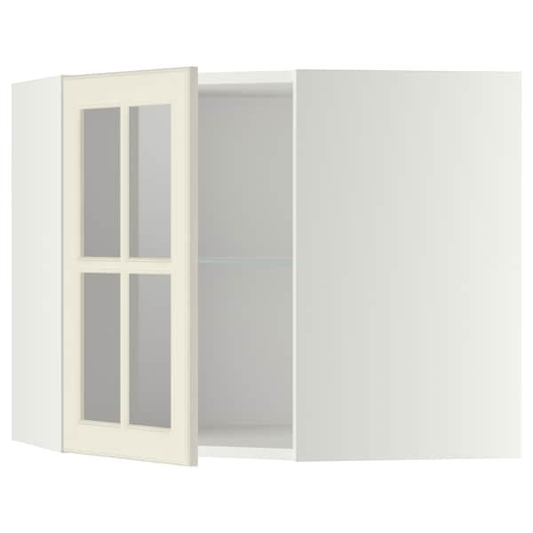 Pensile angolare/ripiani/anta vetro METOD bianco, Bodbyn bianco sporco