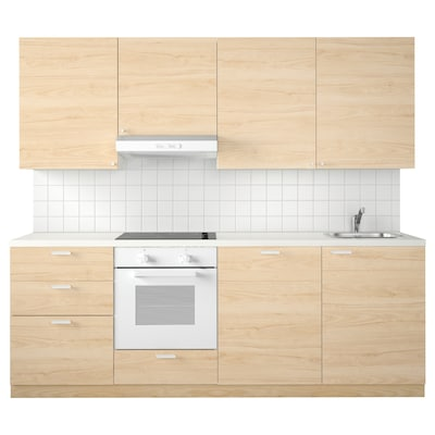 METOD Cucina, bianco Maximera/Askersund frassino, 240x60x228 cm
