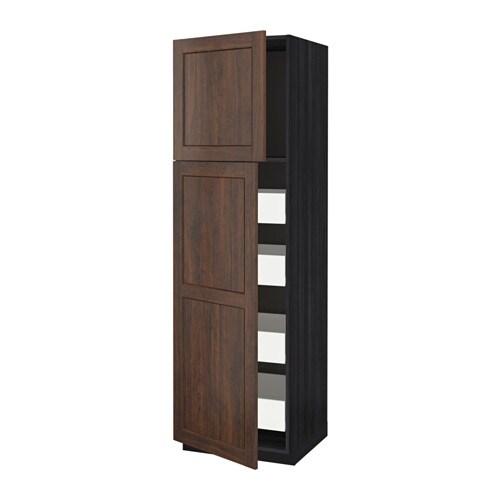 Metod f rvara mobile alto con 2 ante 4 cassetti effetto legno nero edserum effetto legno - Mobili profondita 30 cm ...