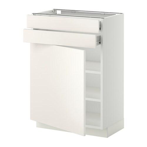 METOD / FÖRVARA Mobile base con anta/2 cassetti - bianco, Veddinge bianco, 60x37 cm - IKEA