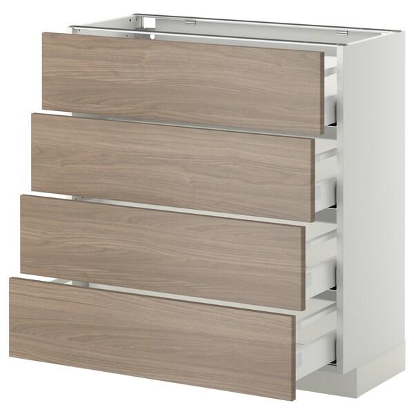 METOD / MAXIMERA mobile/4 frontali/4 cassetti bianco/Brokhult grigio chiaro 80.0 cm 39.4 cm 88.0 cm 37.0 cm 80.0 cm