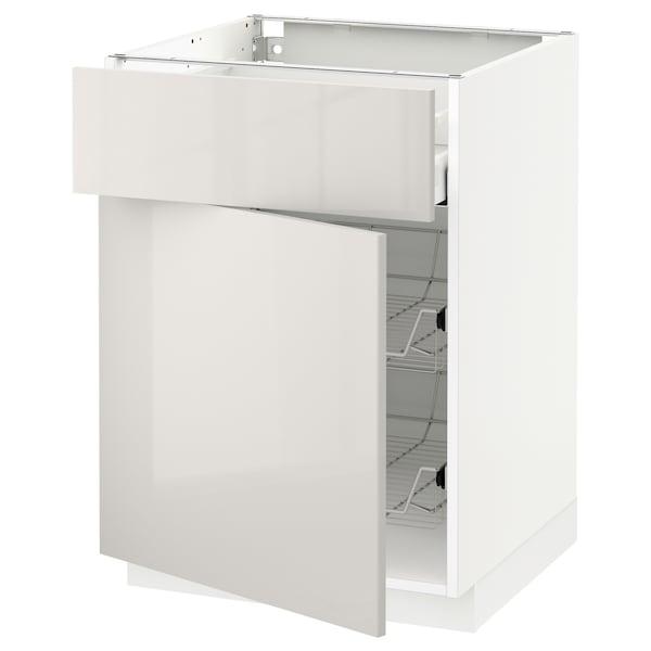 METOD / MAXIMERA mobile base, cestello/cassetto/anta bianco/Ringhult grigio chiaro 60.0 cm 61.8 cm 88.0 cm 60.0 cm 80.0 cm
