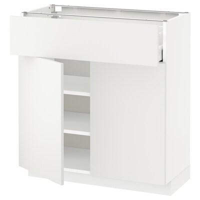 METOD / MAXIMERA mobile con cassetto/2 ante bianco/Häggeby bianco 80.0 cm 37 cm 80.0 cm