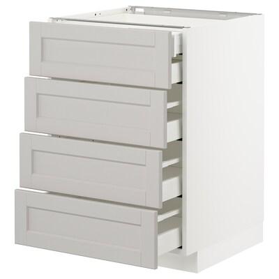 METOD / MAXIMERA mobile 4front/2cassetti bassi/3medi bianco/Lerhyttan grigio chiaro 60.0 cm 61.9 cm 88.0 cm 60.0 cm 80.0 cm