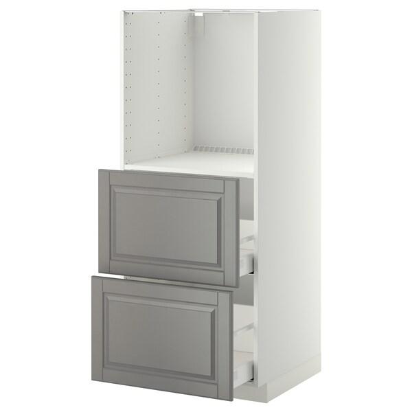 METOD / MAXIMERA mobile alto/2 cassetti per forno bianco/Bodbyn grigio 60.0 cm 61.9 cm 148.0 cm 60.0 cm 140.0 cm