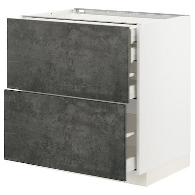 METOD / MAXIMERA Mob 2front/2casset bass/1med/1alt, bianco/Kalhyttan effetto cemento grigio scuro, 80x60 cm