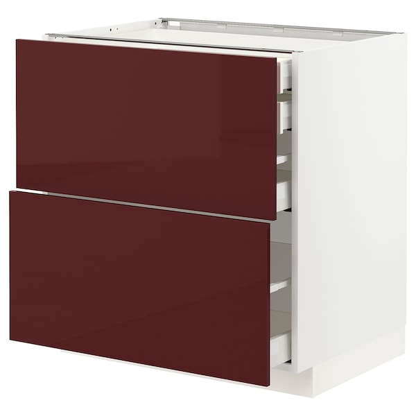 METOD / MAXIMERA Mob 2front/2casset bass/1med/1alt, bianco Kallarp/lucido color mogano, 80x60 cm