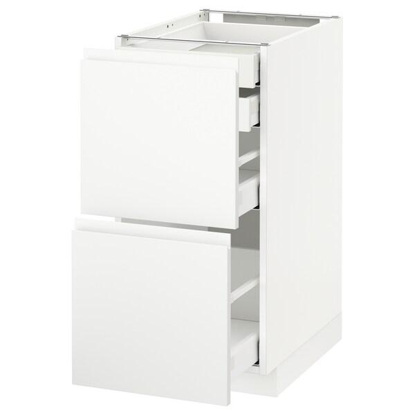 METOD / MAXIMERA Mob 2front/2casset bass/1med/1alt, bianco/Voxtorp bianco opaco, 40x60 cm