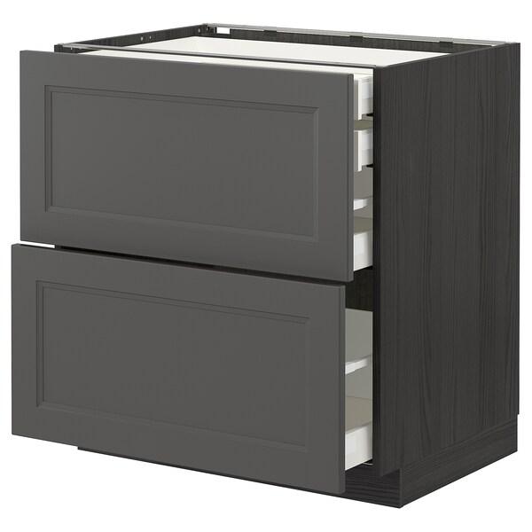 METOD / MAXIMERA Mob 2front/2casset bass/1med/1alt, nero/Axstad grigio scuro, 80x60 cm