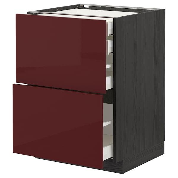 METOD / MAXIMERA Mob 2front/2casset bass/1med/1alt, nero Kallarp/lucido color mogano, 60x60 cm