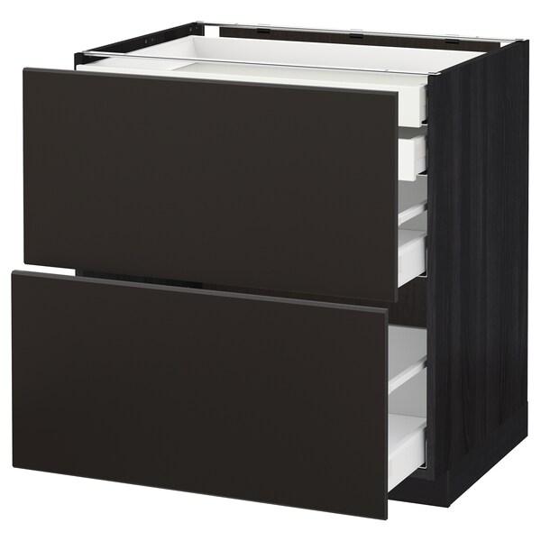 METOD / MAXIMERA Mob 2front/2casset bass/1med/1alt, nero/Kungsbacka antracite, 80x60 cm