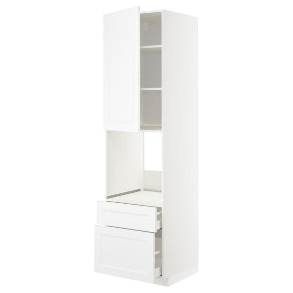 METOD / MAXIMERA Mobil forn/cass/2fron/1cass me/1al, bianco/Axstad bianco opaco, 60x60x220 cm