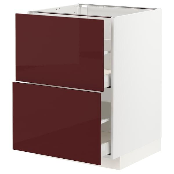 METOD / MAXIMERA Mobile 2 frontali/2 cassetti alti, bianco Kallarp/lucido color mogano, 60x60 cm