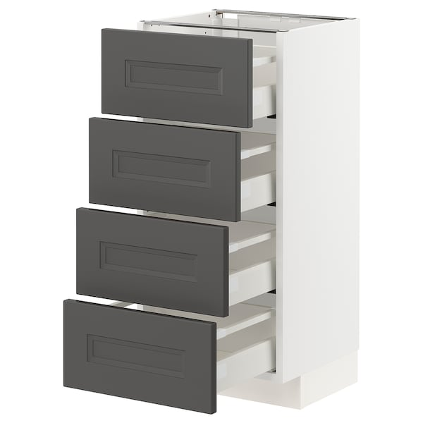METOD / MAXIMERA Mobile/4 frontali/4 cassetti, bianco/Axstad grigio scuro, 40x37 cm