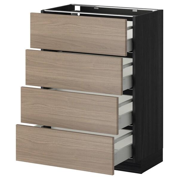 METOD / MAXIMERA Mobile/4 frontali/4 cassetti, nero/Brokhult grigio chiaro, 60x37 cm