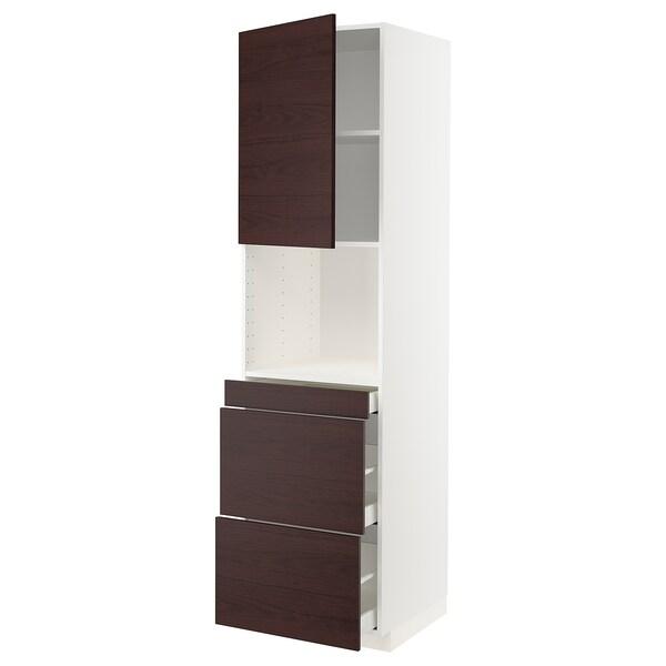 METOD / MAXIMERA Mobile alt micro com/anta/3cassetti, bianco Askersund/marrone scuro effetto frassino, 60x60x220 cm