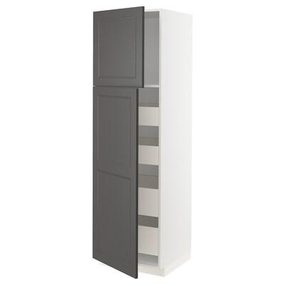 METOD / MAXIMERA Mobile alto con 2 ante/4 cassetti, bianco/Axstad grigio scuro, 60x60x200 cm