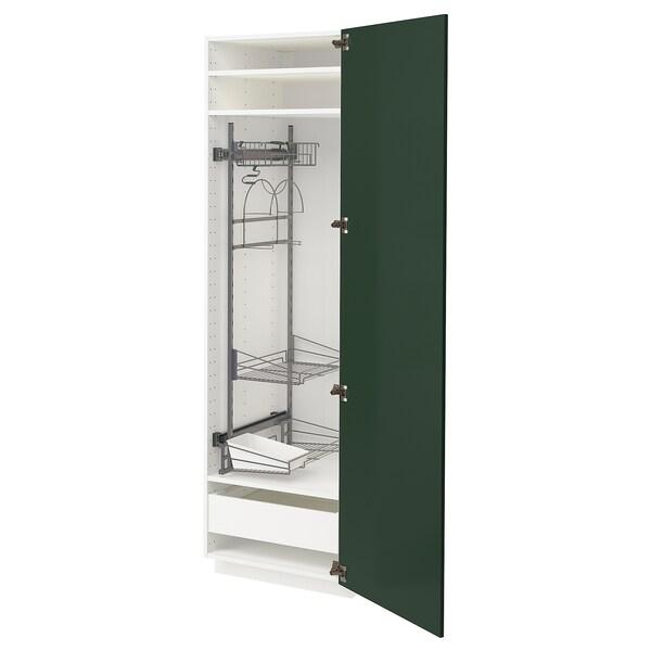 METOD / MAXIMERA Mobile alto con accessori pulizia, bianco/Bodbyn verde scuro, 60x60x200 cm