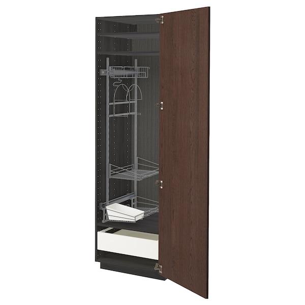 METOD / MAXIMERA Mobile alto con accessori pulizia, nero/Sinarp marrone, 60x60x200 cm
