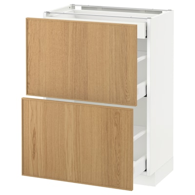METOD / MAXIMERA Mobile base/2frontali/3cassetti, bianco/Ekestad rovere, 60x37 cm