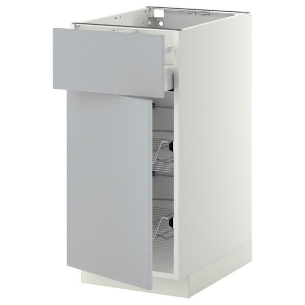 METOD / MAXIMERA Mobile base, cestello/cassetto/anta, bianco/Veddinge grigio, 40x60 cm