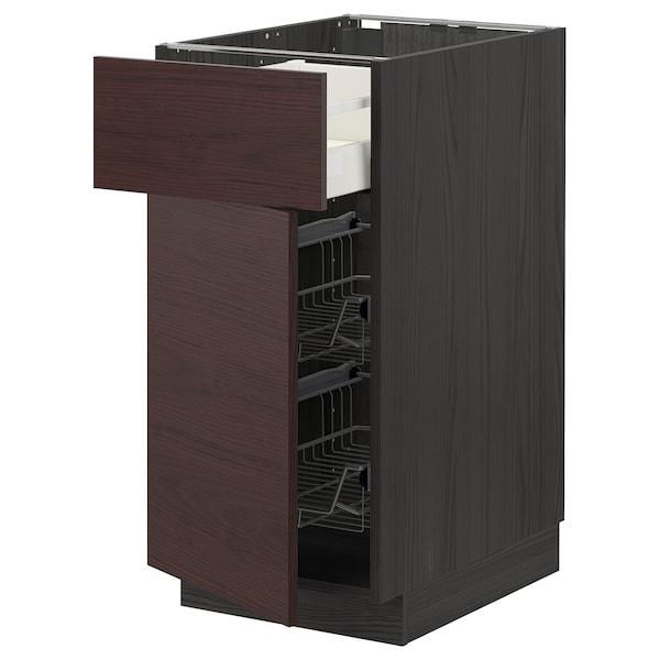 METOD / MAXIMERA Mobile base, cestello/cassetto/anta, nero Askersund/marrone scuro effetto frassino, 40x60 cm