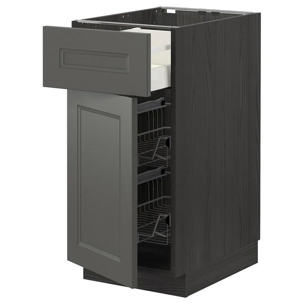METOD / MAXIMERA Mobile base, cestello/cassetto/anta, nero/Axstad grigio scuro, 40x60 cm